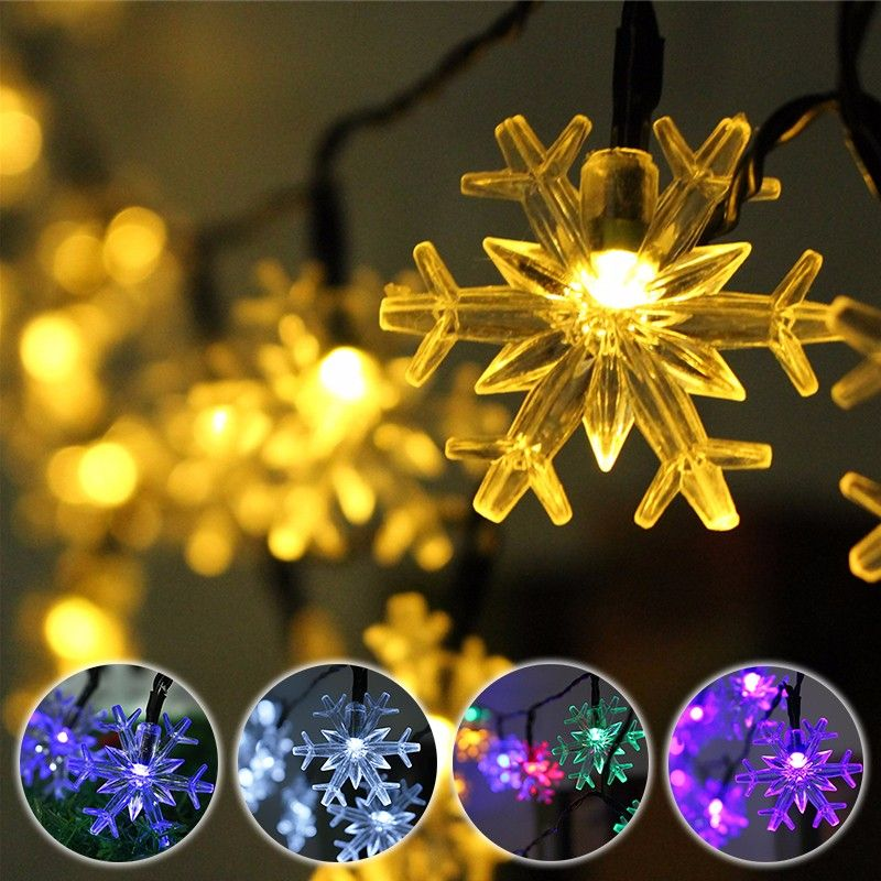 5M 20 LED Snowflake Bling Solar Fairy String Lights Christmas - outdoor christmas decorations wholesale