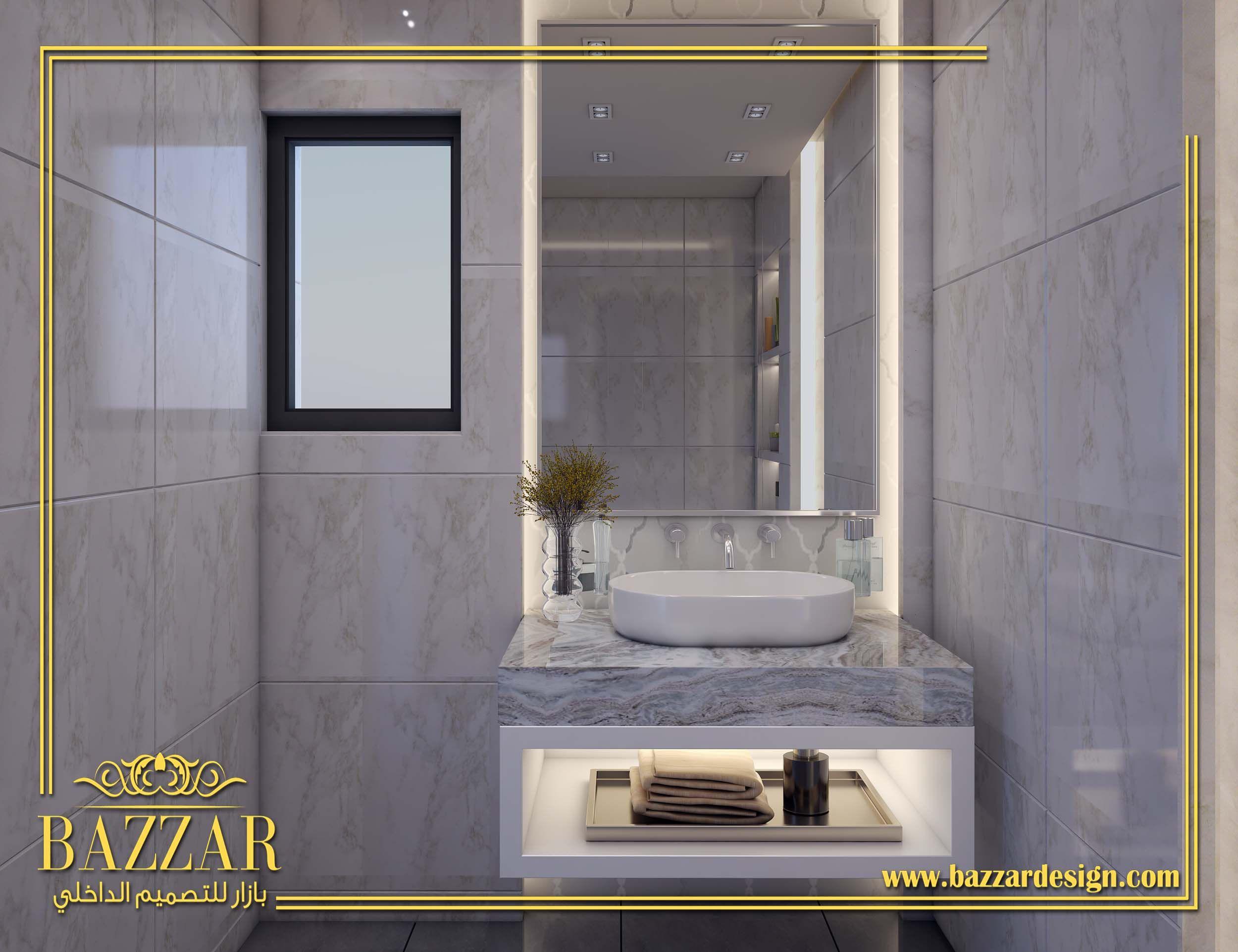 تصميم حمام مودرن تصميم ديكور حمام باللون الابيض تصميم حمام ذات الوان هادئه تصميم حمام صغيره Bathr Bathroom Design Bathroom Mirror Lighted Bathroom Mirror