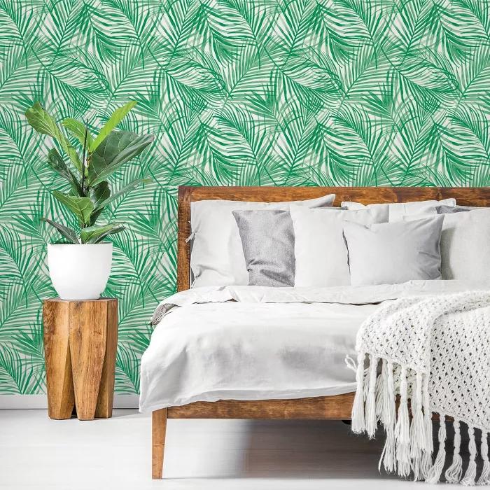 Tropical Peel Stick Wallpaper Green Opalhouse Peel And Stick Wallpaper Tropical Bedrooms Tropical Wallpaper