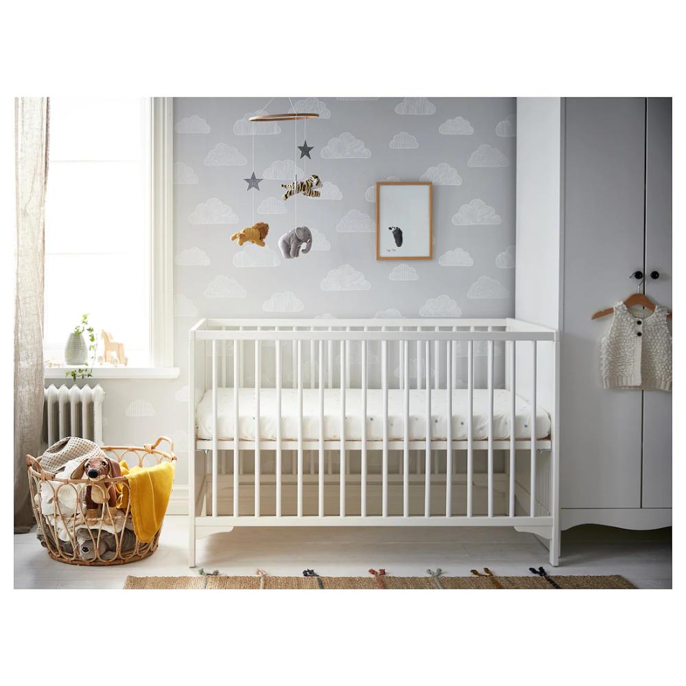 Solgul Crib White 27 1 2x52 Cribs Ikea Mattress Bed Base Frame