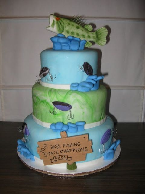 Fish birthday cake wick 39 d cakes bass fishing gone for Fish birthday cakes