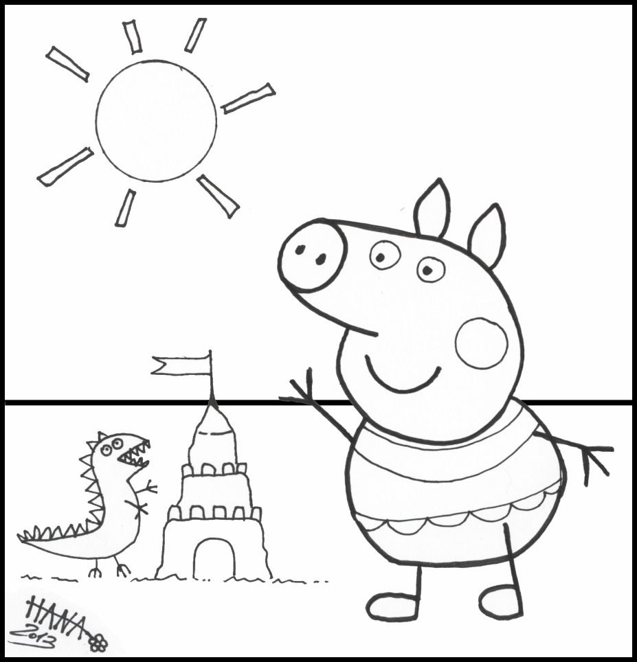 Peppa Pig Coloring Pages At The Beach раскраски Pinterest