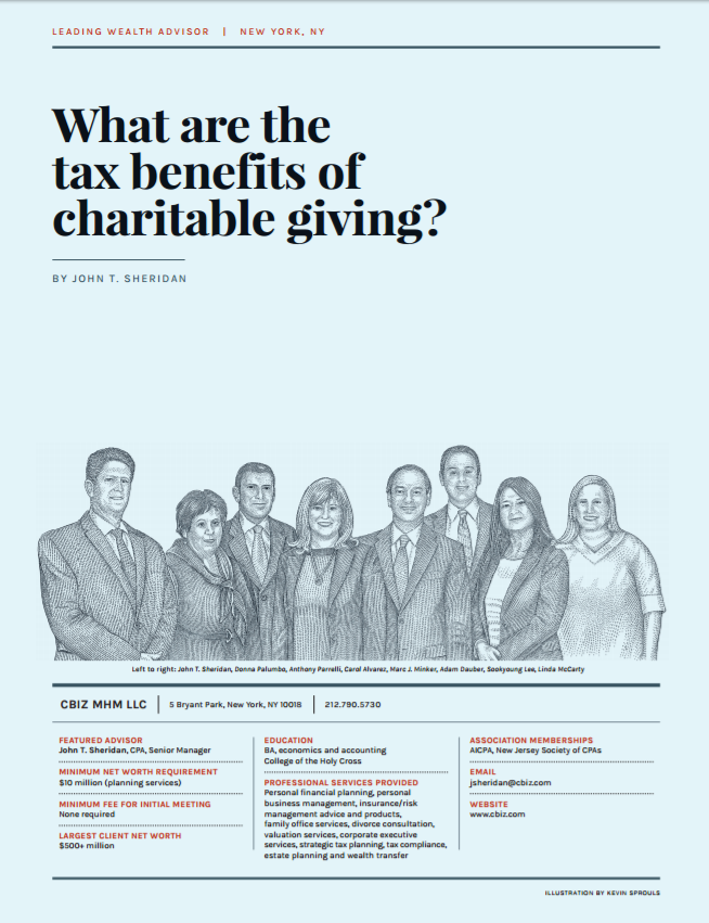 John Sheridan Cpa Senior Manager At Cbiz Wrote A Piece Published To Worth Magazine On How Charitabl Insurance Industry Financial Services Charitable Giving