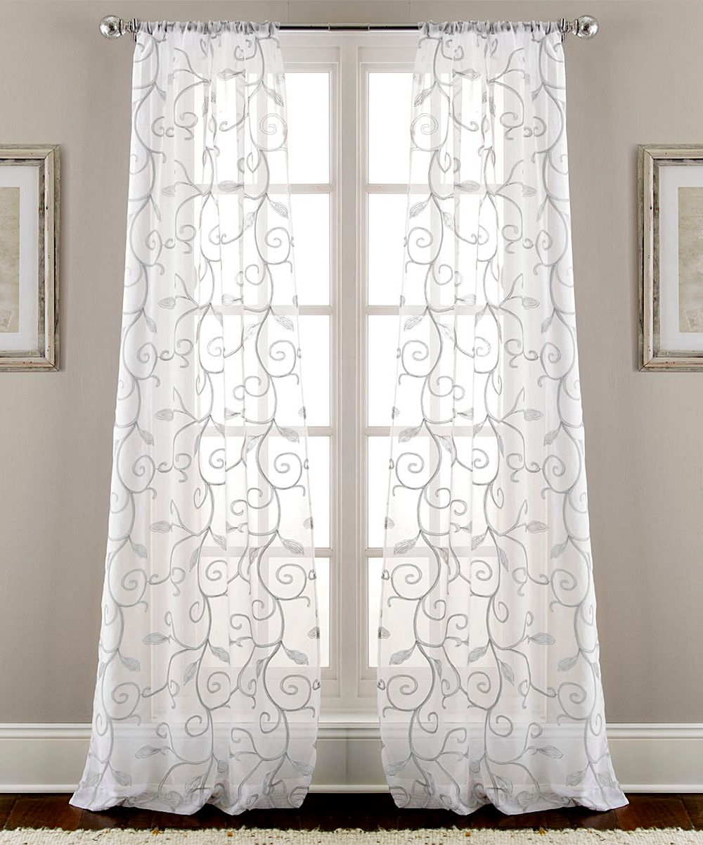 Gray Leaf Swirl Sheer Curtain Panel - Set Of Two