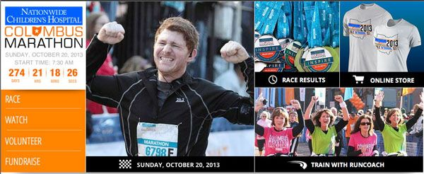 26.2 Apparel and super athlete on the home page for the 2013 Columbus Marathon!  We are so proud!