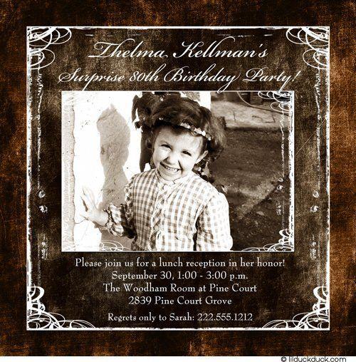 Photo 80th Birthday Invitation Design Surprise Vintage Themed Gal