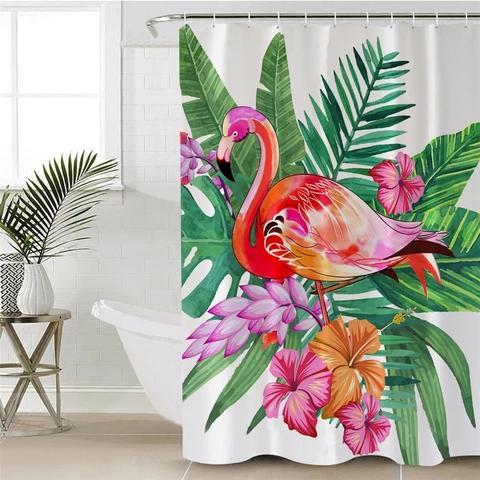 Shower Curtain Pink Flamingo Tropical Flowers Flamingo Shower