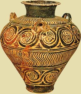 A vase from Thebes,  Mycenaean period, 13th century BC.