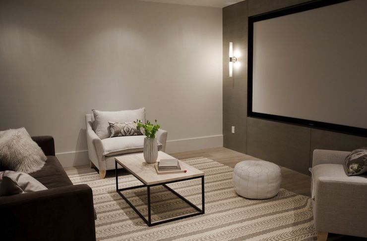 Fantastic Basement Theater Room With Dark Gray Wall Behind Projection Screen Flanked By Contemporar Basement Movie Room Media Room Paint Colors Grey Wall Color