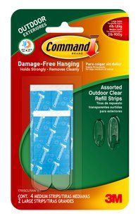 Command Tm Assorted Outdoor Clear Refill Strips Contains Medium And Large Strips For Picture Framing Supplies Picture Framing Materials Picture Framing Tools