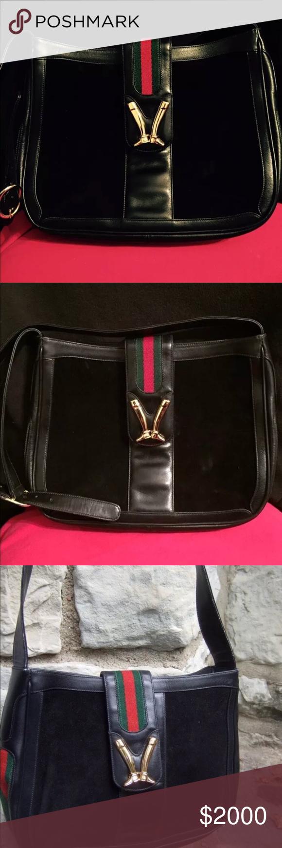 48cc473baf47 GUCCI Vintage Black Equestrian Shoulder Bag GUCCI Rare Black Vintage  leather equestrian boot clasp shoulder bag
