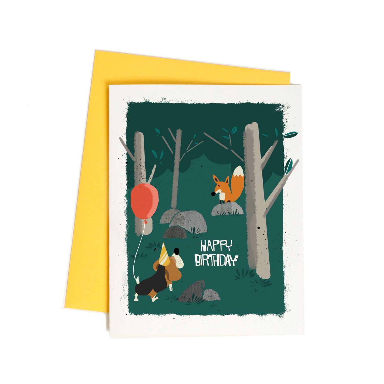 Sweet Birthday Card For Friend Fox And Hound Dog Birthday Greeting