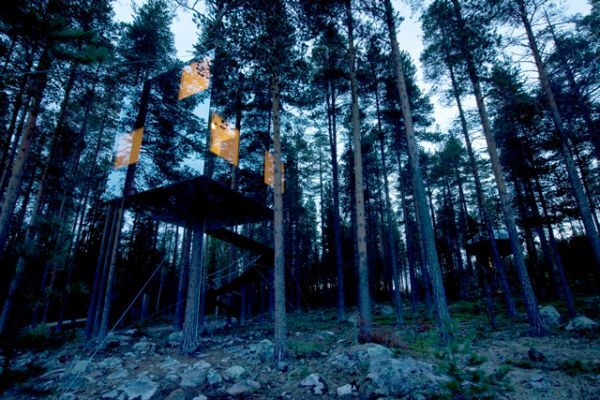 Treehotel, Sweden Fancy staying in a bird's nest or in a UFO? At the Treehotel in North Sweden, either is a viable possibility, as guests can stay in one of six themed tree houses, which are all individually designed with contemporary decor and boast eco-friendly creds. There's also a treetop sauna — cool! 14 Wacky Hotels You Have To See To Believe