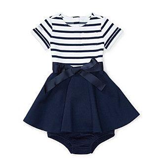 Ralph Lauren® Baby Girls' Striped Bodice Dress