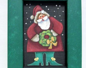 Santa Claus with Christmas Wreath, Hand Painted on Black Screen, Reclaimed Wood Frame, Christmas,Santa Claus,Green Wreath,Hand Crafted Frame