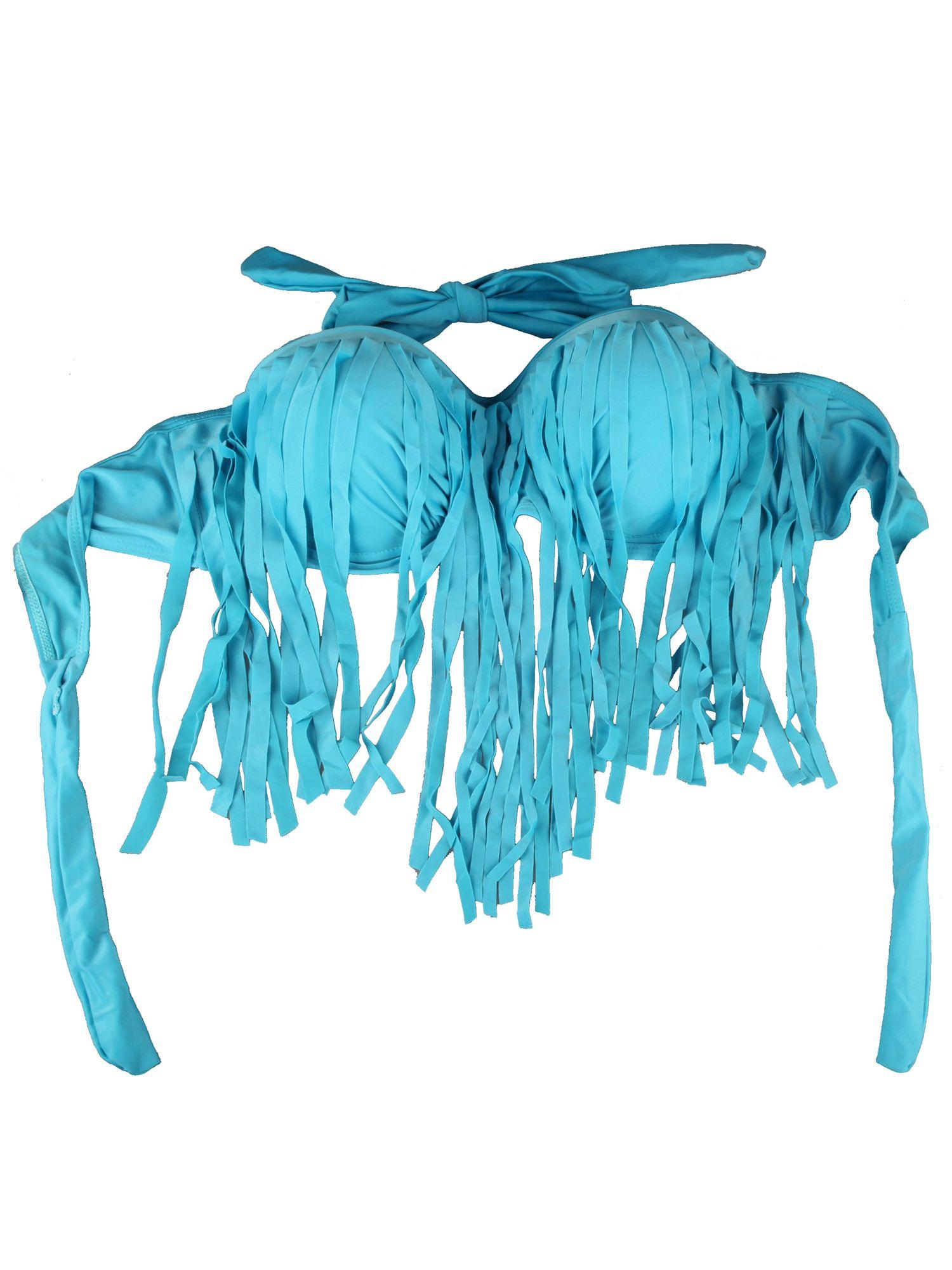 SAYFUT Plus Size Halter Tassel Bikini High Wsist Swim