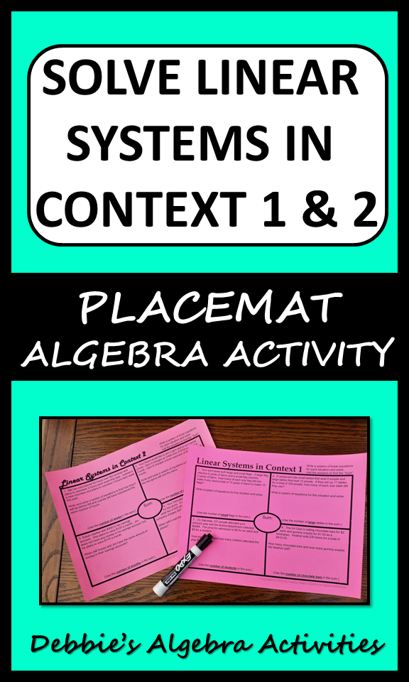 Solve Linear Systems In Context 1 & 2 (2 similar items & 2 deals ...