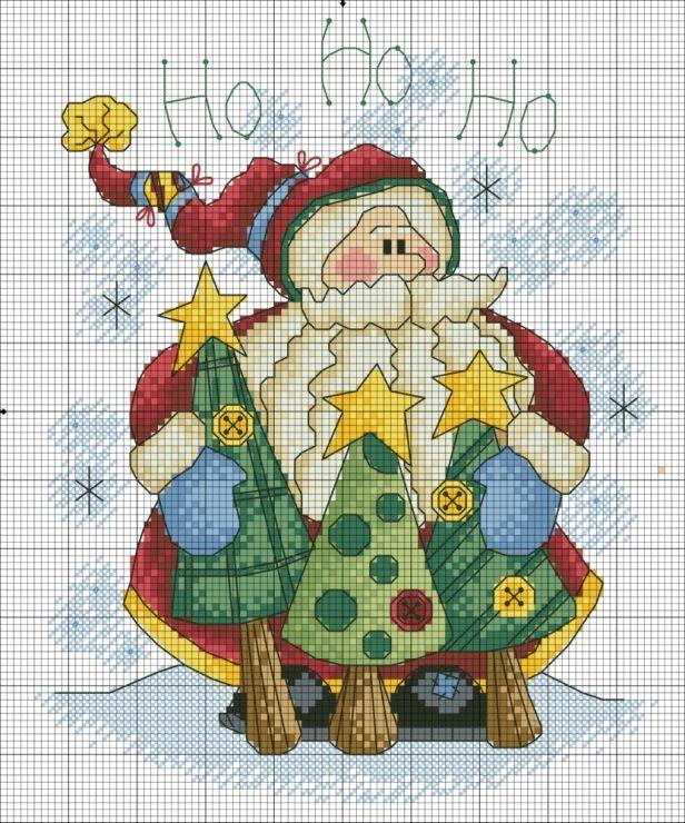 Papá Noel | Santa | Pinterest | Punto de cruz, Papá noel y Puntos