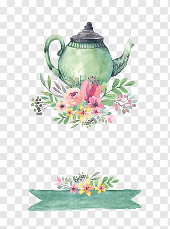 Tea Party Wedding Invitation Bridal Shower Drawing Teapot Green And Multicolored Teapot With Flowers Illustrat Tea Pots Flower Illustration Coffee Watercolor