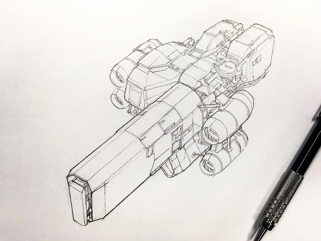 Spacecraft Coloring Fresh Spaceship Sketch In Pencil Draw