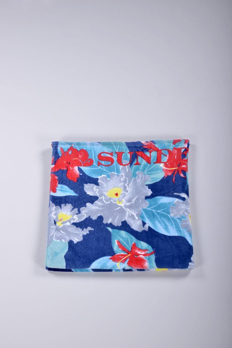 Asciugamano spiaggia donna Sundek telo mare floreale. - Ronca 1862 srl - Asciugamano spiagga donna Sundek con stampa a fantasia floreale e logo.