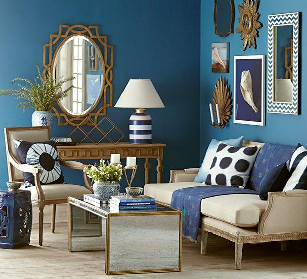 Navy Gold Living Room