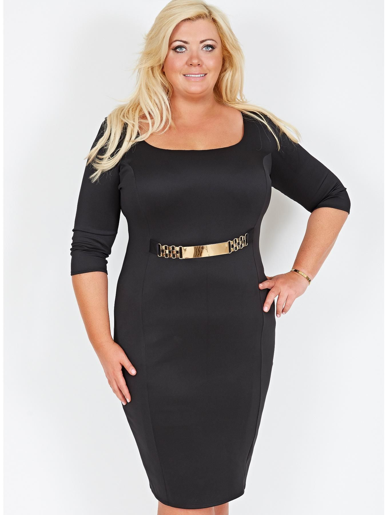 6b3f17957c7 Gemma Collins Corsica Black Dress Size 22 Gold Belt New with tags ...