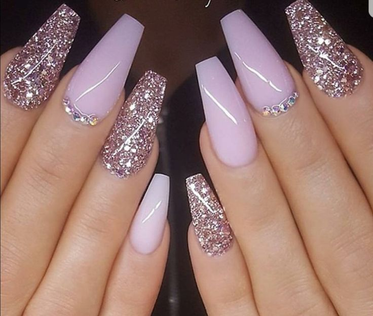 Light purple lilac long coffin nails with glitter and rhinestone accents  are the perfect spring nails - Light Purple Lilac Long Coffin Nails With Glitter And Rhinestone
