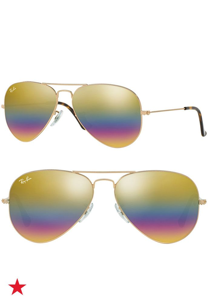 c7f573eaae Looking for a standout pair of sunglasses  These rainbow mirrored Ray-Ban  aviators will add vibrant pops of color to whatever you re wearing!
