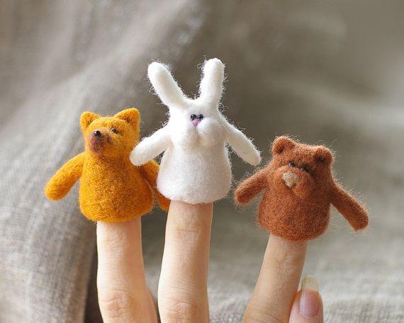 Bunny Needle Felted Finger Puppet Woodland white by FeltStory