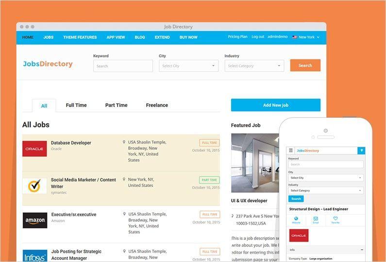 JobsDirectory WordPress Jobs Portal Theme - http://www.templates4all ...