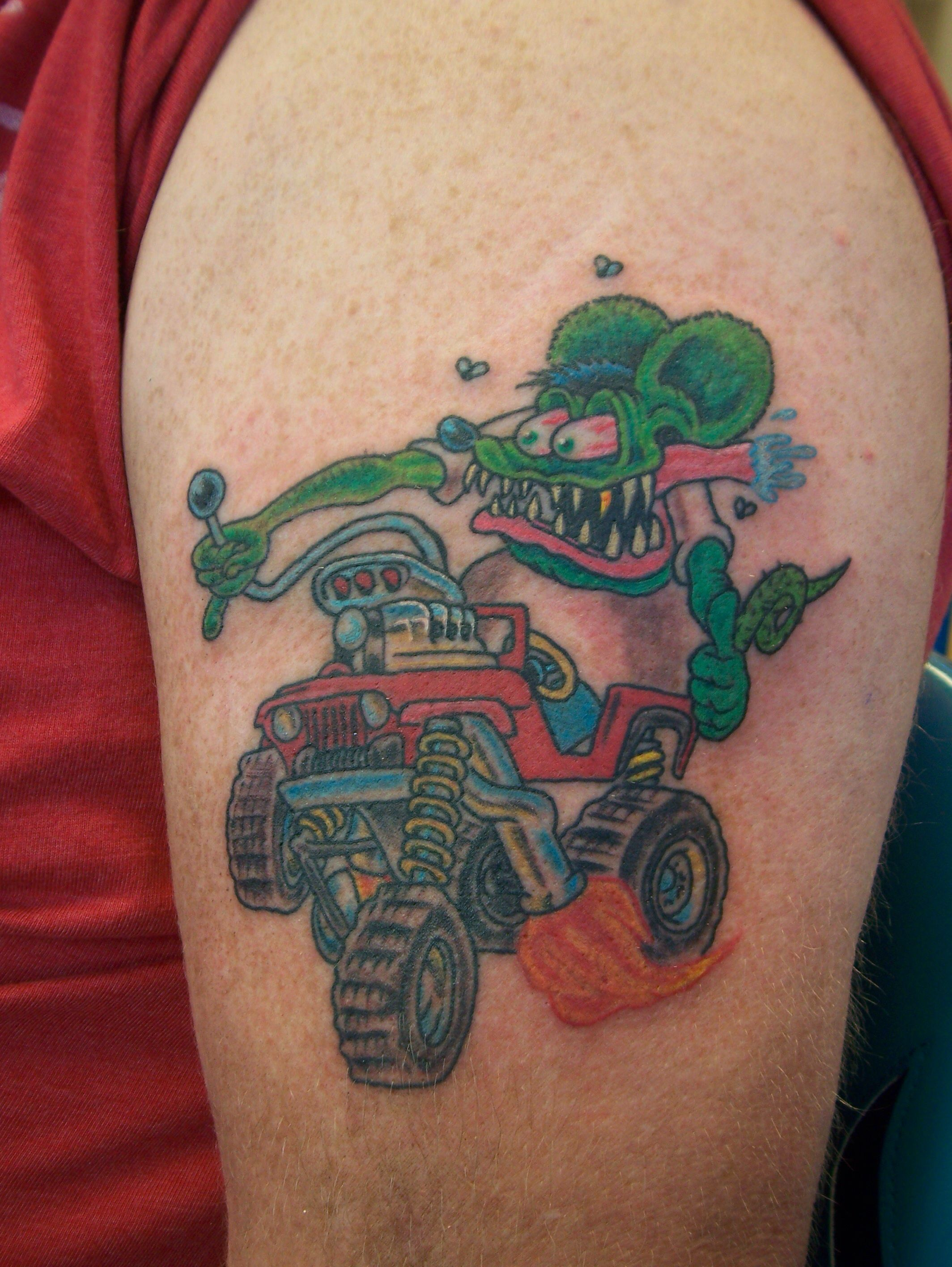 rev tulsa tattoo co rat fink big daddy ed roth hot rod jeep tattoo rev tulsa tattoo co. Black Bedroom Furniture Sets. Home Design Ideas