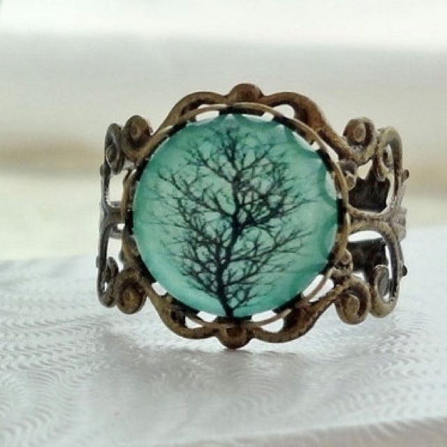 Aqua tree filigree statement ring  906f58811f17