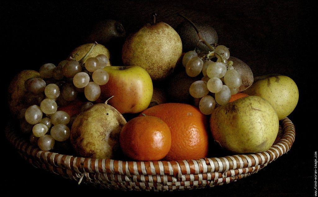 Nature morte corbeille de fruits nature morte fruit - Dessin de nature morte ...