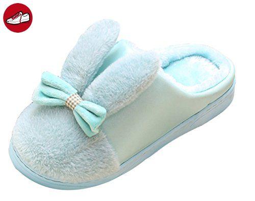 ICEGREY Damen Warme Hausschuhe Plüsch Kunstpelz 3D Kuh Soft Sole Wärmehausschuhe für Paare Hellblau 38-39 oqrkPW
