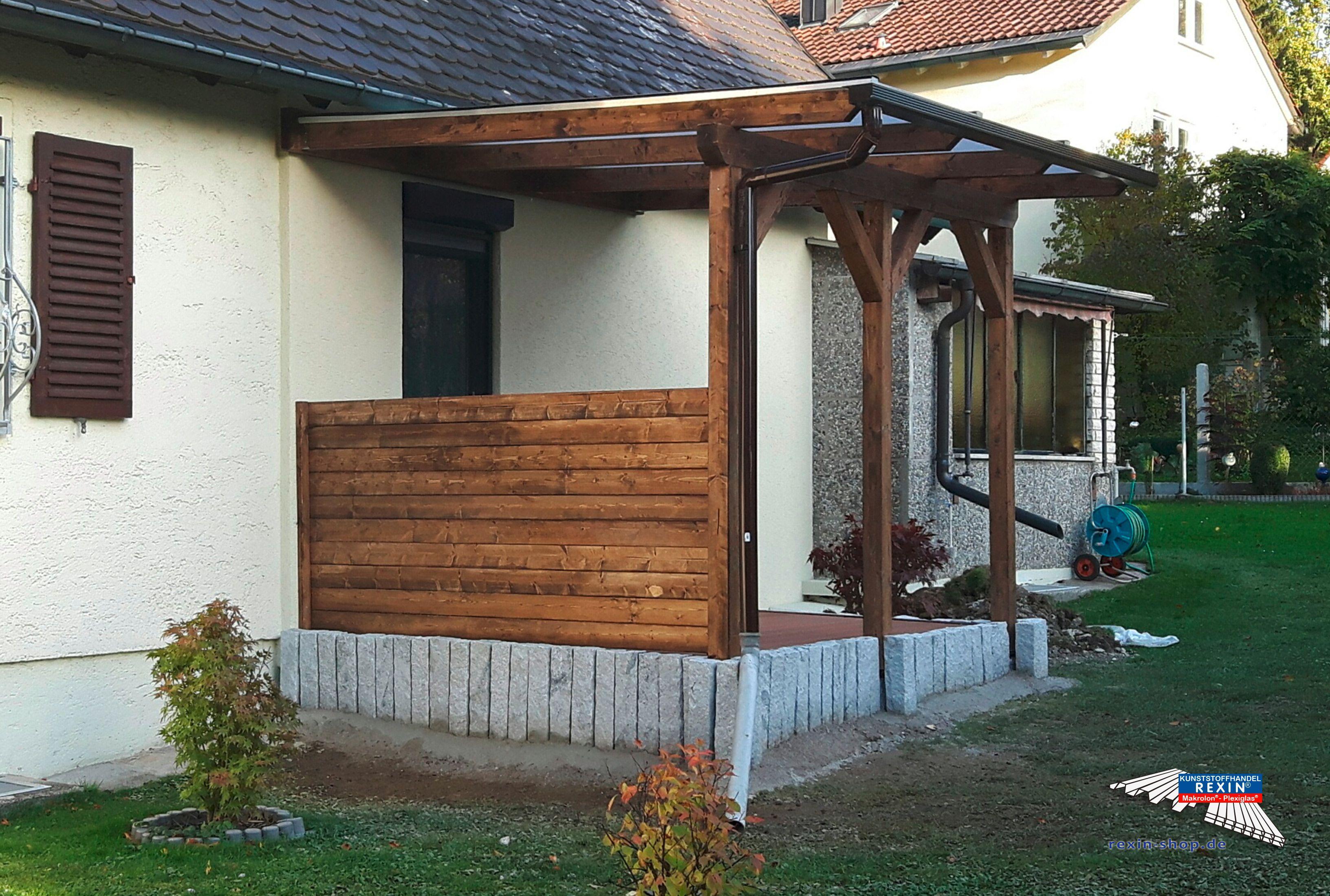 Ein Holz Terrassendach Der Marke Rexocomplete 3m X 3m Mit Rexoclear Stegplatten Und Rexodrop Regenrinne Bei Di Stegplatten Terrassendach Uberdachung Terrasse