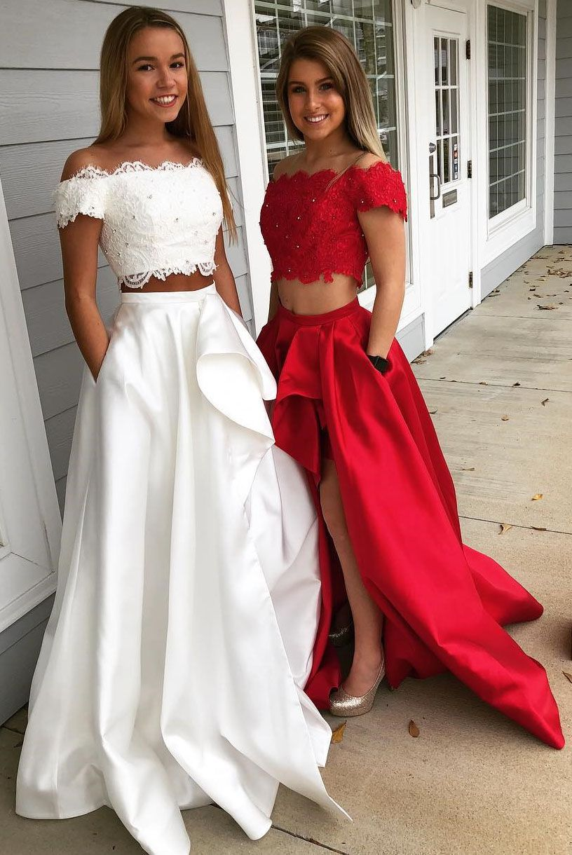 Two piece offtheshoulder white split satin prom dress with pockets
