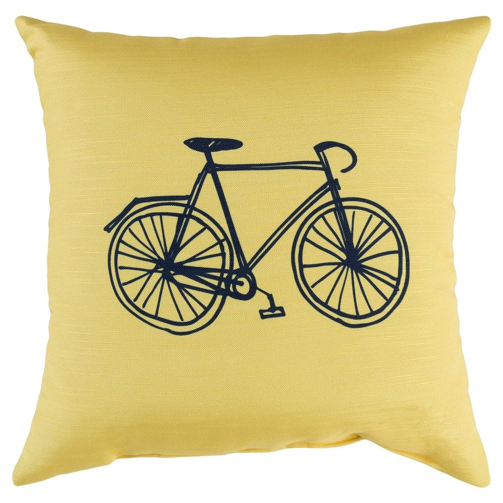 "Yellow Bike Throw Pillow 17""x17"" Surya | Products"