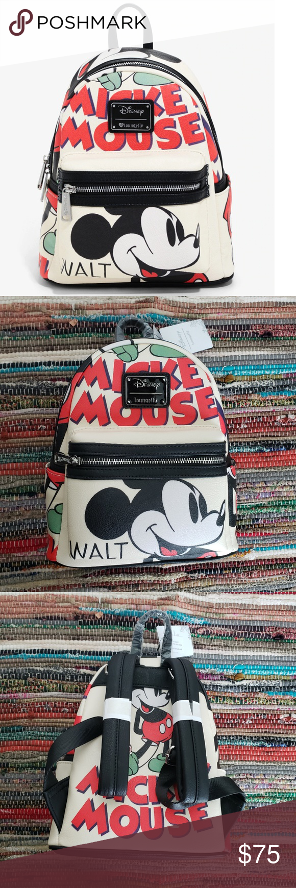 Disney Mickey Mouse Illustration Mini Backpack This Cream Colored Mini Backpack From Loungefly X Dis Mickey Mouse Illustration Mouse Illustration Mini Backpack