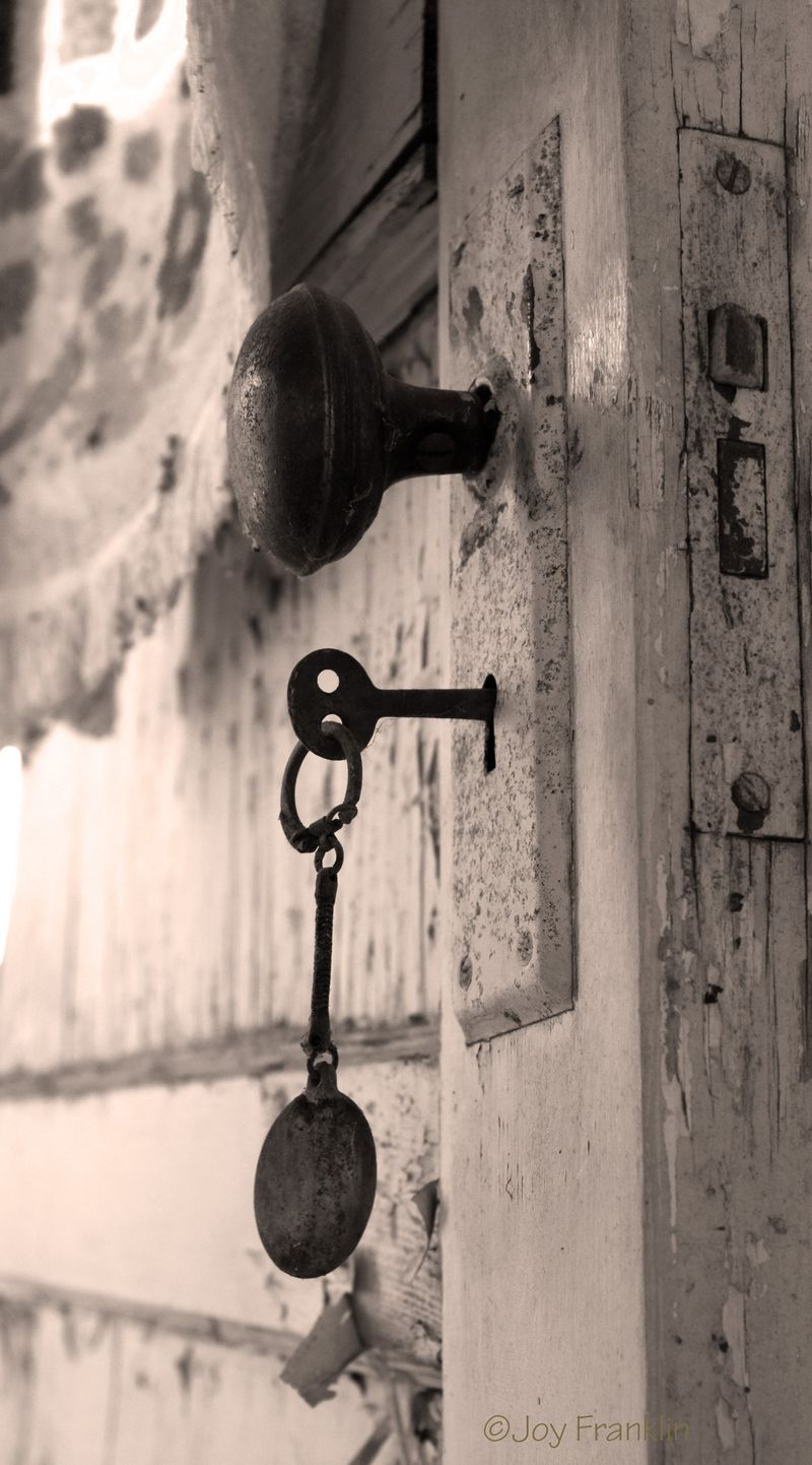 Old shabby white door, vintage curtains and skeleton key. - Old Lock In The Door At My Grandma's House Opening Doors