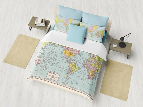 World map duvet cover comforter bed bedroom travel decor cozy world map duvet cover comforter bed bedroom travel decor cozy soft pastel winter warm wanderlust atlas geography cartography gumiabroncs Gallery