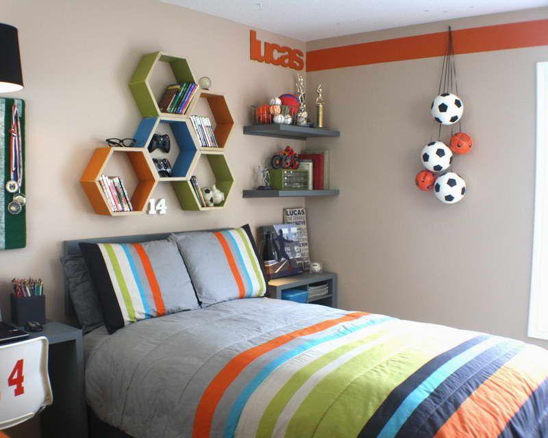 Orange Accent Stripe Geeen Orange Blue Accent Shelves Tween Boy Bedroom Boy Bedroom Design Boys Room Design