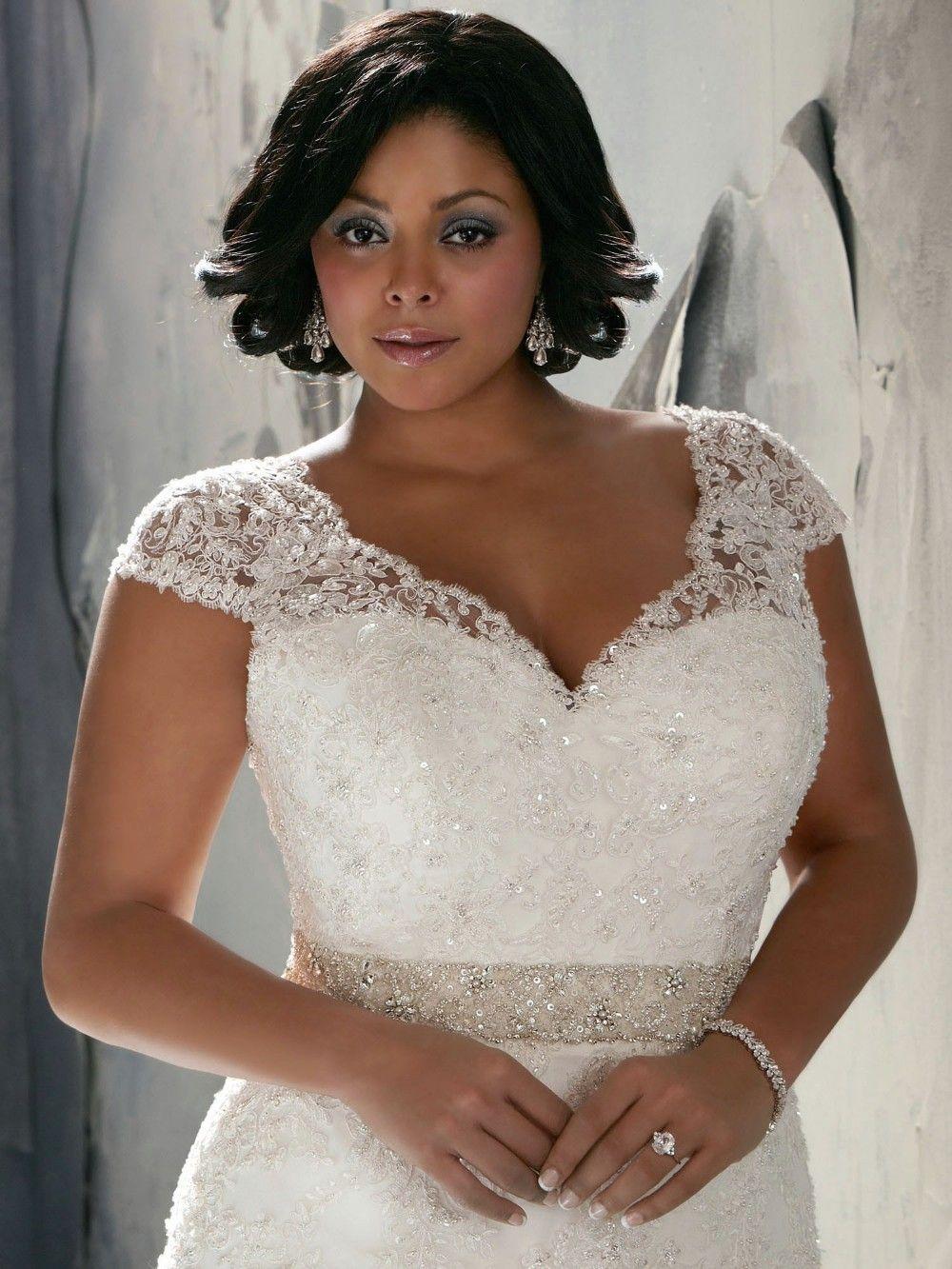 Vintage Lace Cap Sleeves Super Plus Size Mermaid Wedding