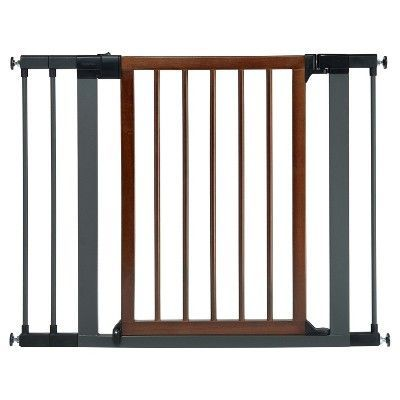 Munchkin Wood Steel Safety Gate Brown Silver Baby Gates Wood Steel Baby Safety Gate