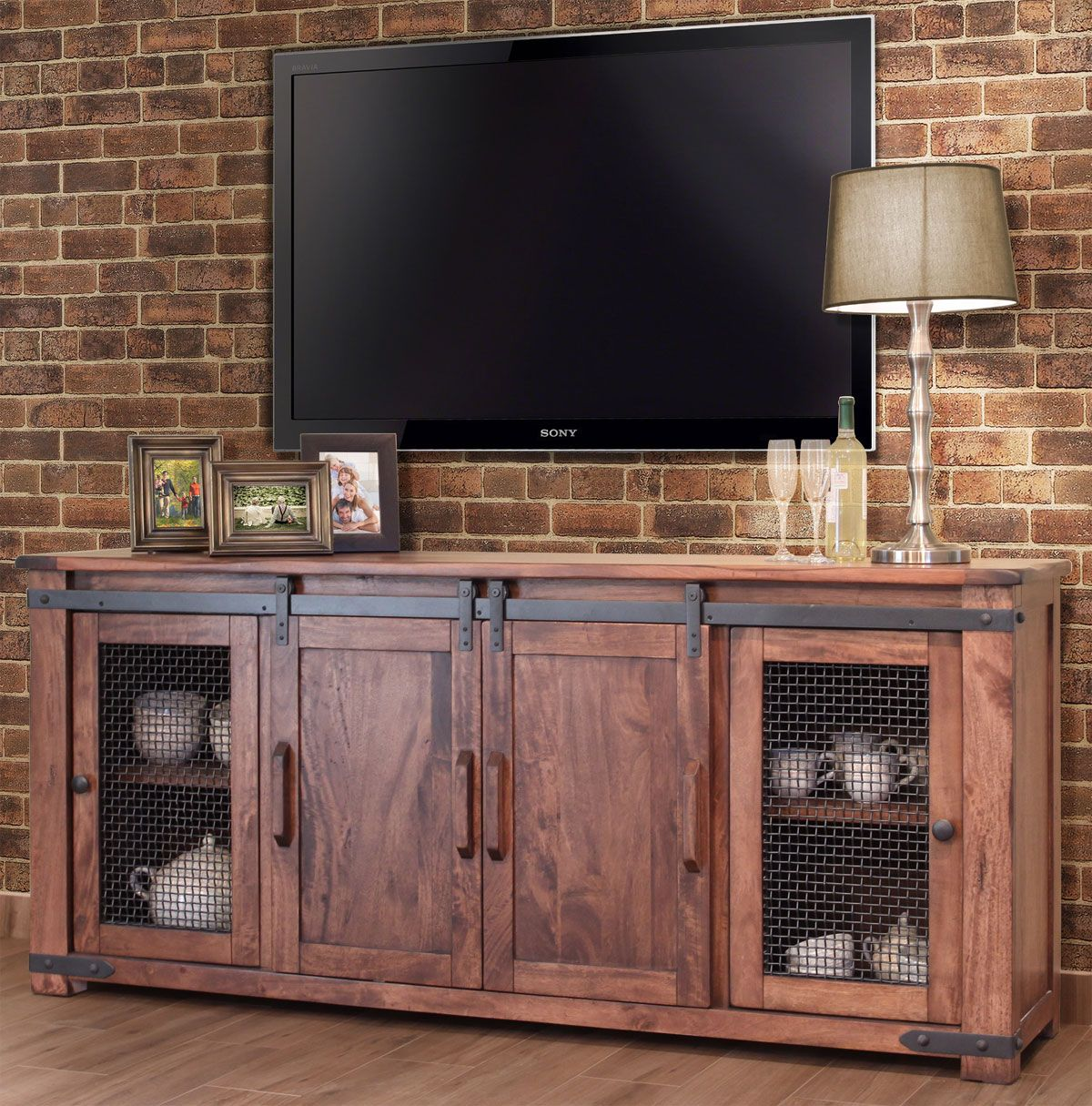 Parota Rustic 80 Tv Stand W Cabinet Doors Rustic Tv Stand Rustic Tv Console Tv Cabinets With Doors