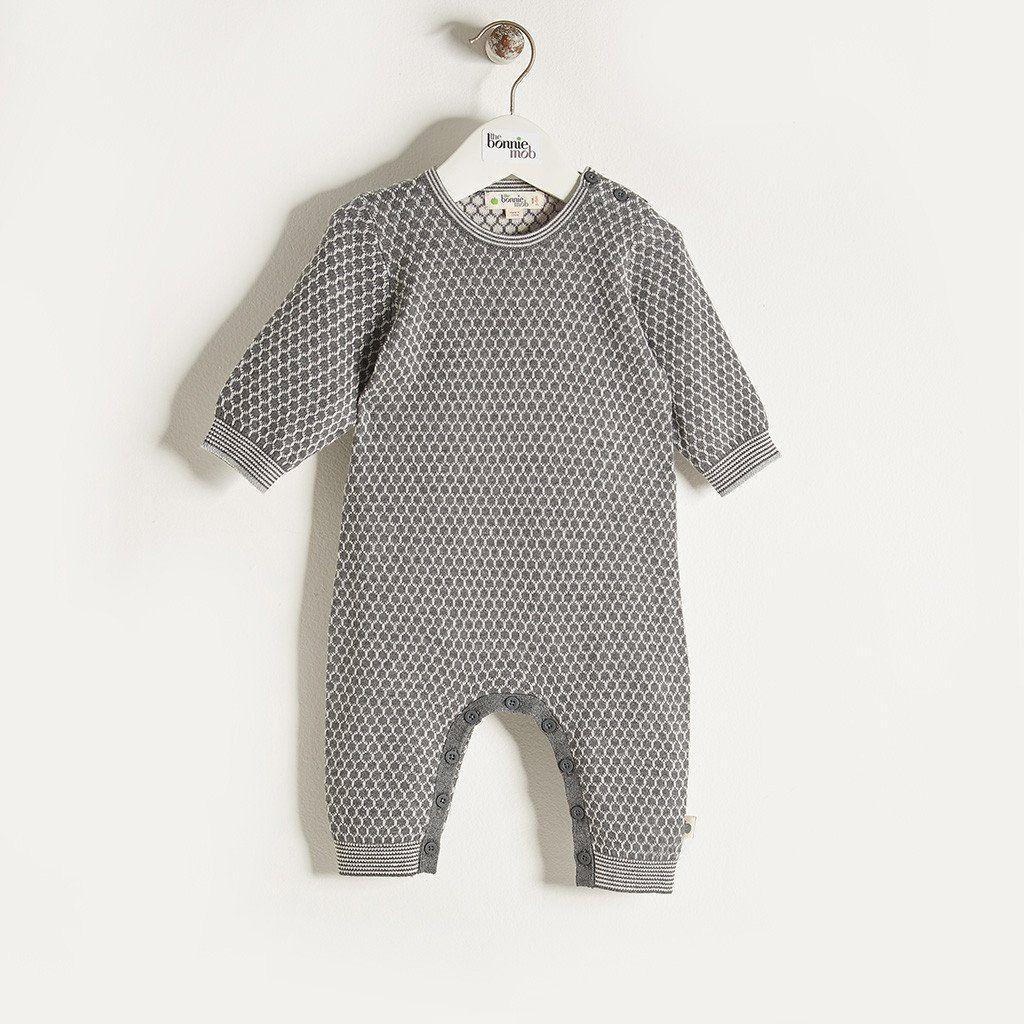 d04bf8efa ELFIE - Unisex Baby Honeycomb Jaquard Playsuit - Grey