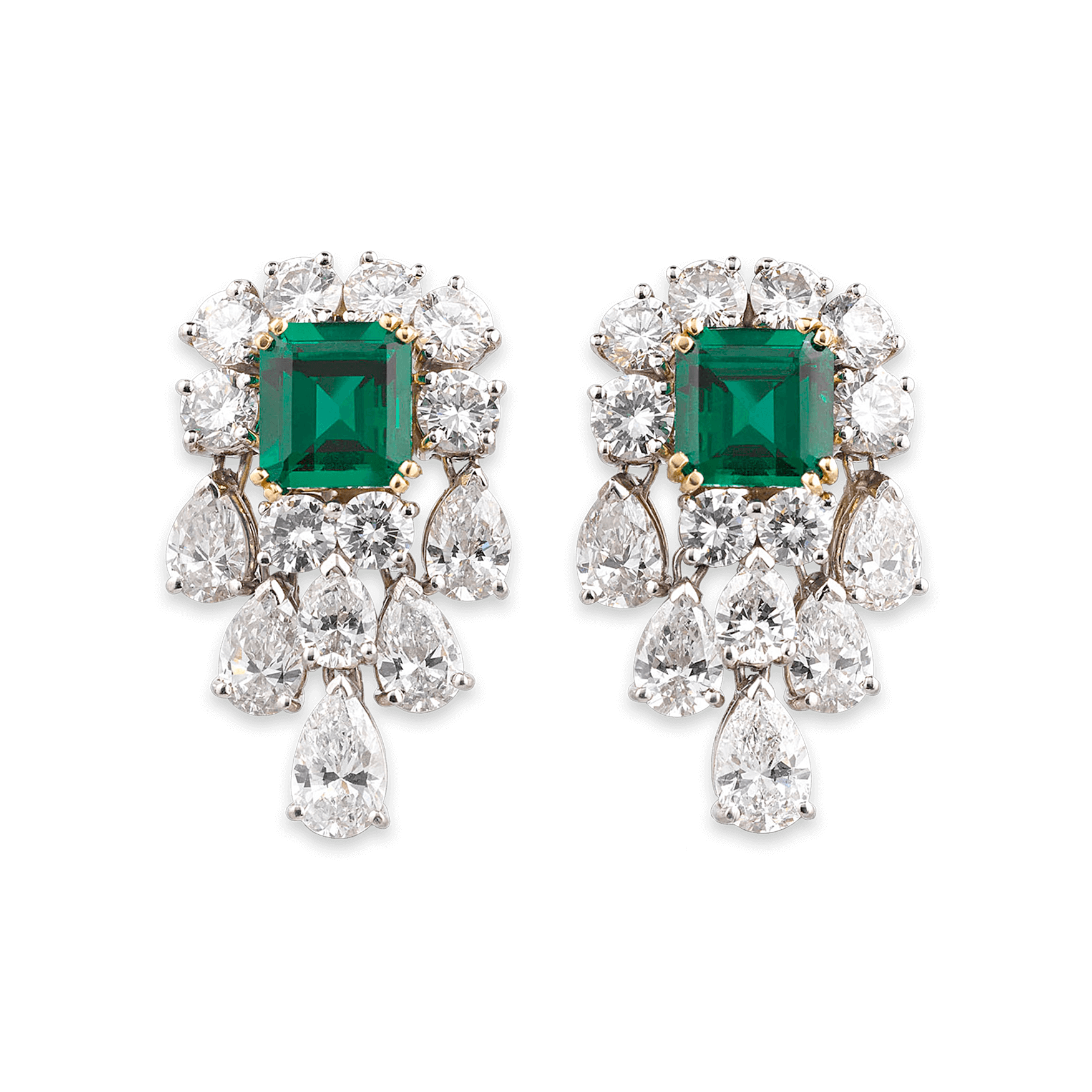 Estate Jewelry Colored Gemstones Old Mine Emerald And Diamond Earrings M S Rau Antiques