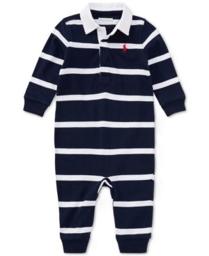 a851b01fd Ralph Lauren Baby Boys Striped Rugby Cotton Coverall - French Navy ...