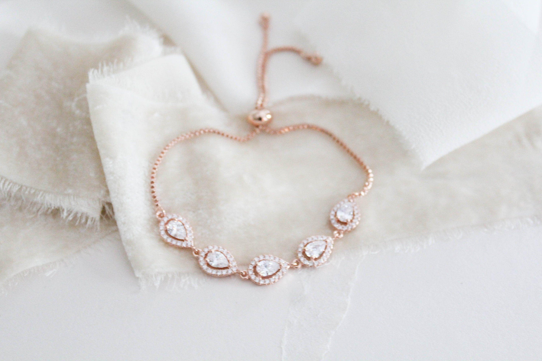 Rose Gold Bridal Bracelet Wedding Jewelry For Brides Cz Etsy Bridesmaid Bracelet Gift Wedding Jewelry Simple Bridal Bracelet
