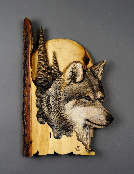 Wolf carved on wood carving with bark hand made gift